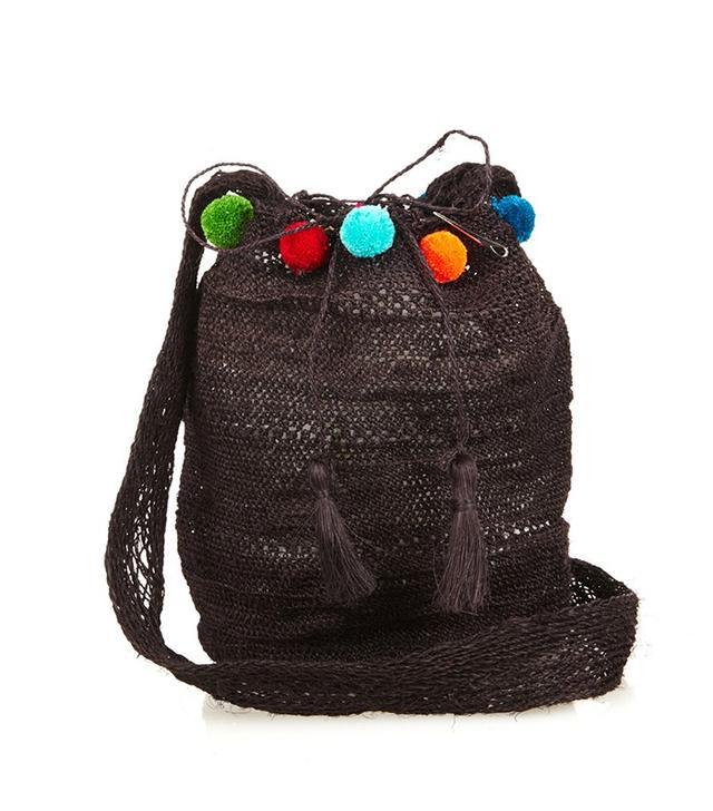 Muzungu Sisters Fique Mochila Pompom Bag in Black