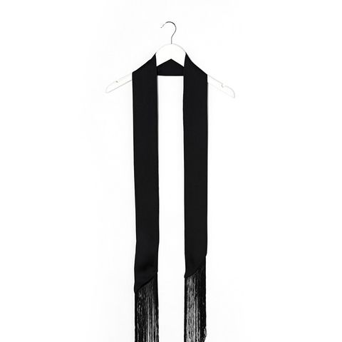 Long Skinny Scarf With Fringing