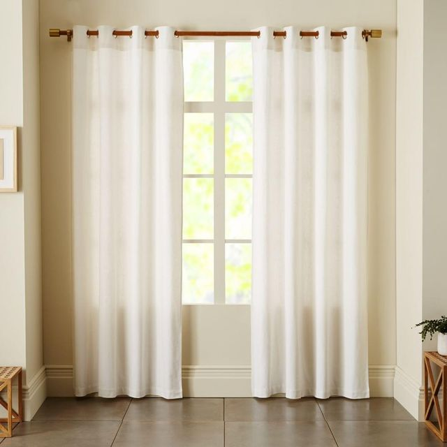 West Elm Linen Cotton Grommet Curtain - White