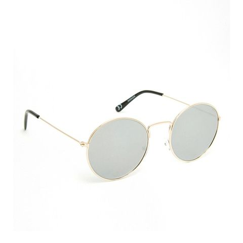 Round Metal Sunglasses With Fine Frame With Flat Lens
