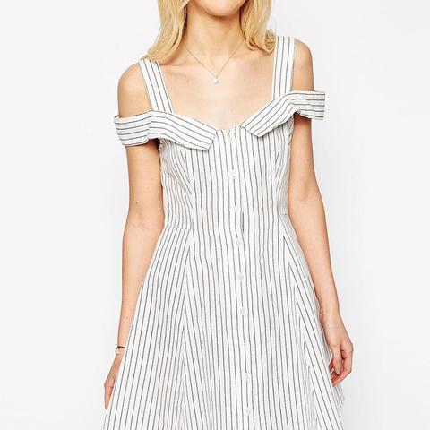 Off Shoulder Button Through Mini Sundress