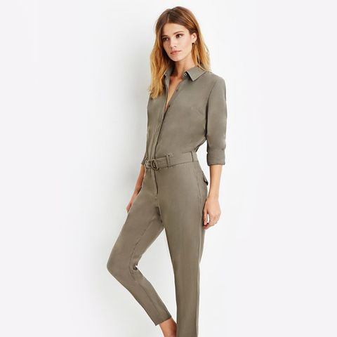 Belted Button-Front Jumpsuit