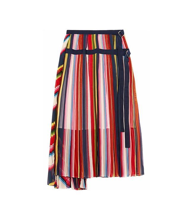 Sacai Grosgrain-Trimmed Pleated Skirt