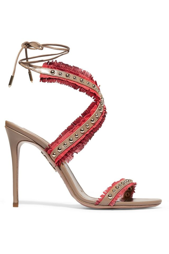 Aquazzura Latin Lover Studded Fringed Suede and Leather Sandals