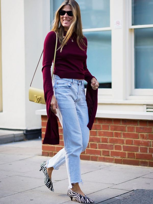 Style Notes: Make like Natalie Hartley, and wear kitten V-neck shoes with frayed jeans in order to really show them off.