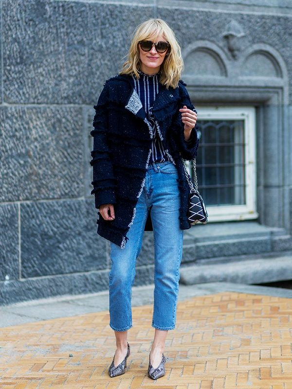 Style Notes: Blogger Marie Hindkaer Wolthers takes her denim hemline even shorter in order to make her ankles look even lither than they already are.