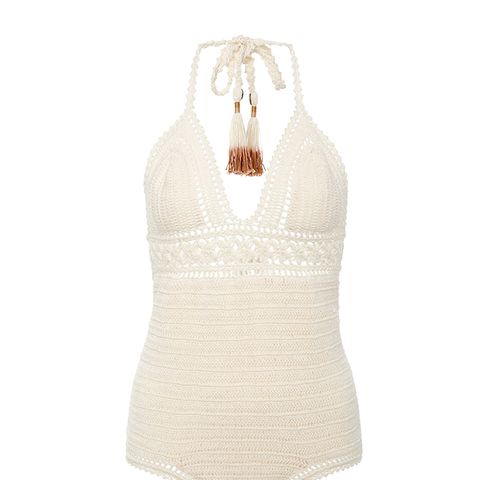 Intricate Flower Crocheted Swimsuit