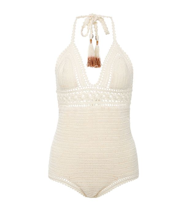 She Made Me Intricate Flower Crocheted Swimsuit