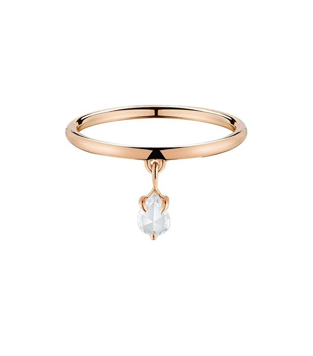 Finn Rose Gold Band with Diamond Teardrop