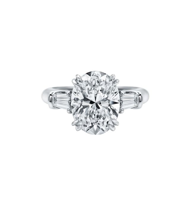 Harry Winston Classic Winston Oval Shaped Engagement Ring With Tapered Baguette Side Stones