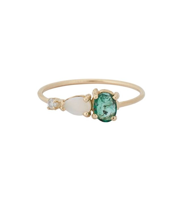 Loren Stewart Emerald, Opal & Diamond Ring
