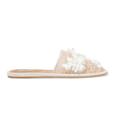 Suede-Trimmed Embellished Lace Slippers