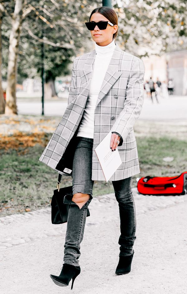 plaid blazer and jeans street style