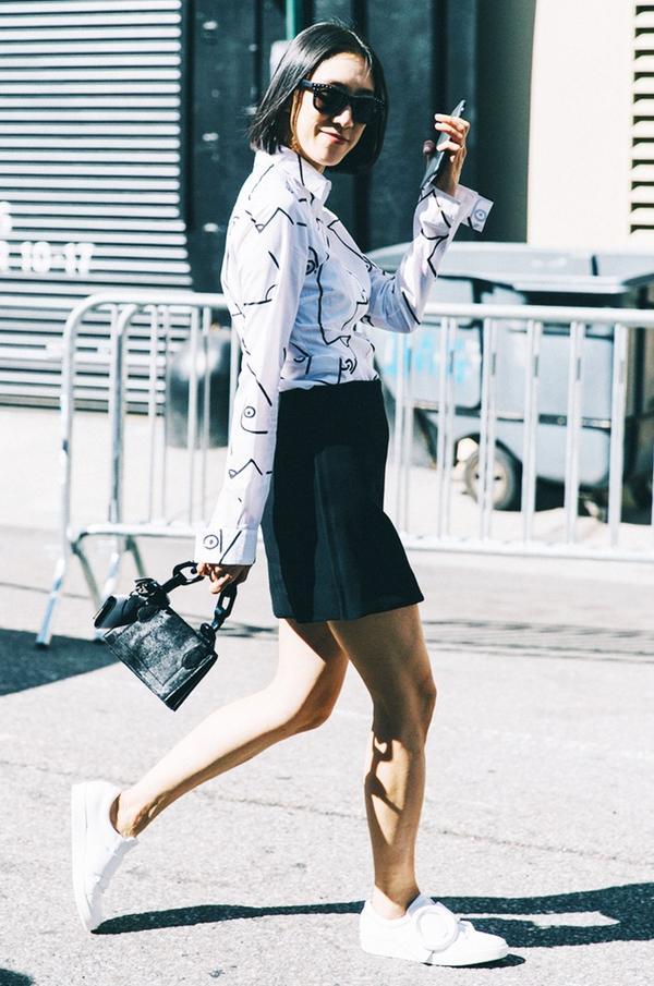 Blouse + Skirt + Sneakers