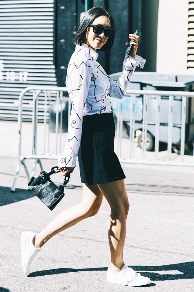 A Button-Down, a Skirt, and Sneakers