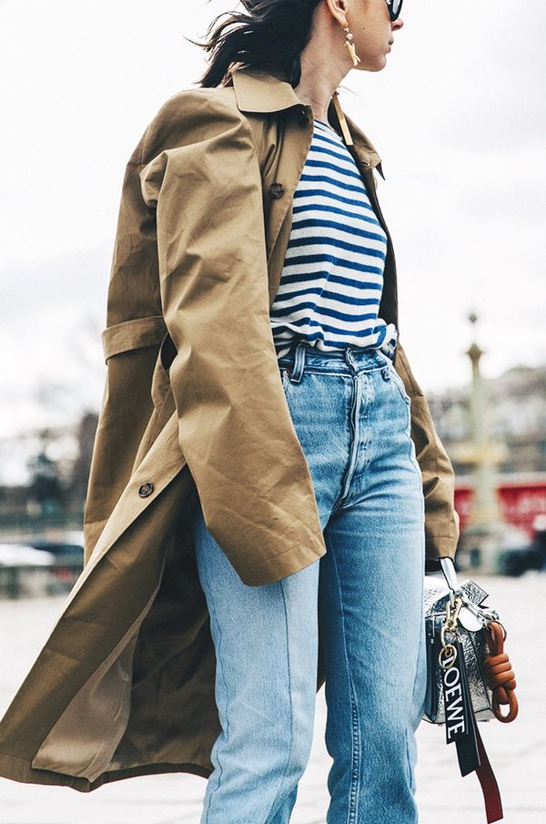Trench Coat + Striped Shirt