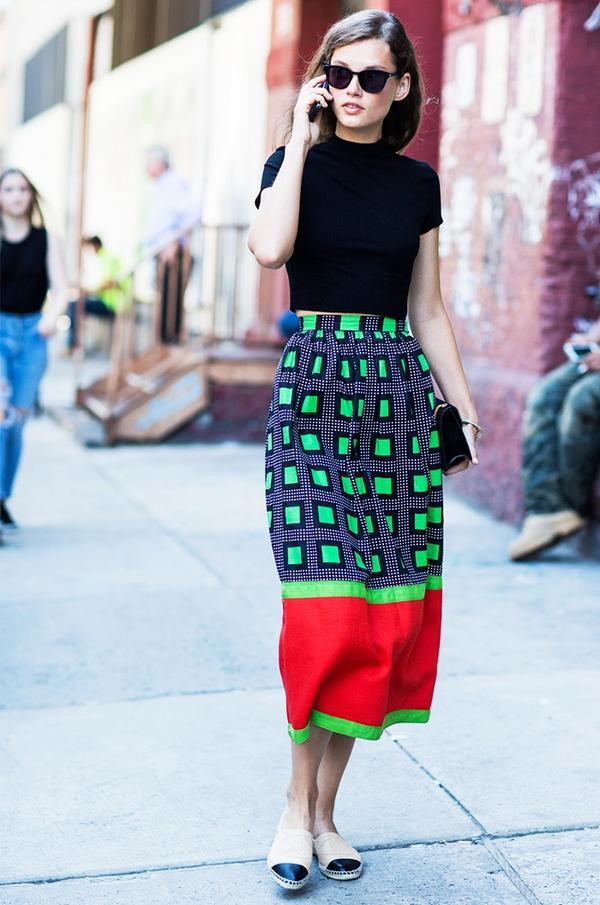 Printed Skirt + Crop Top