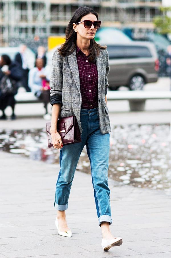 Boyfriend Jeans + Button-Down + Blazer
