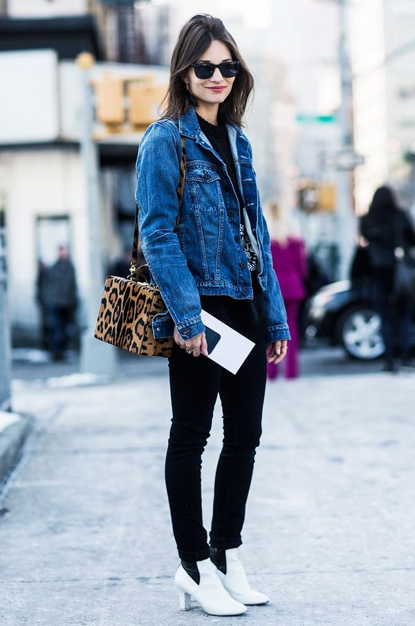 Denim Jacket + Black Jeans + Booties
