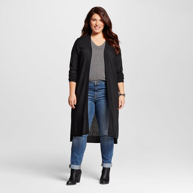 Ava & Viv Textured Open Cardigan