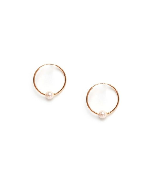 ASOS Rose Gold Plated Sterling Silver 12mm Mini Pearl Hoop Earrings