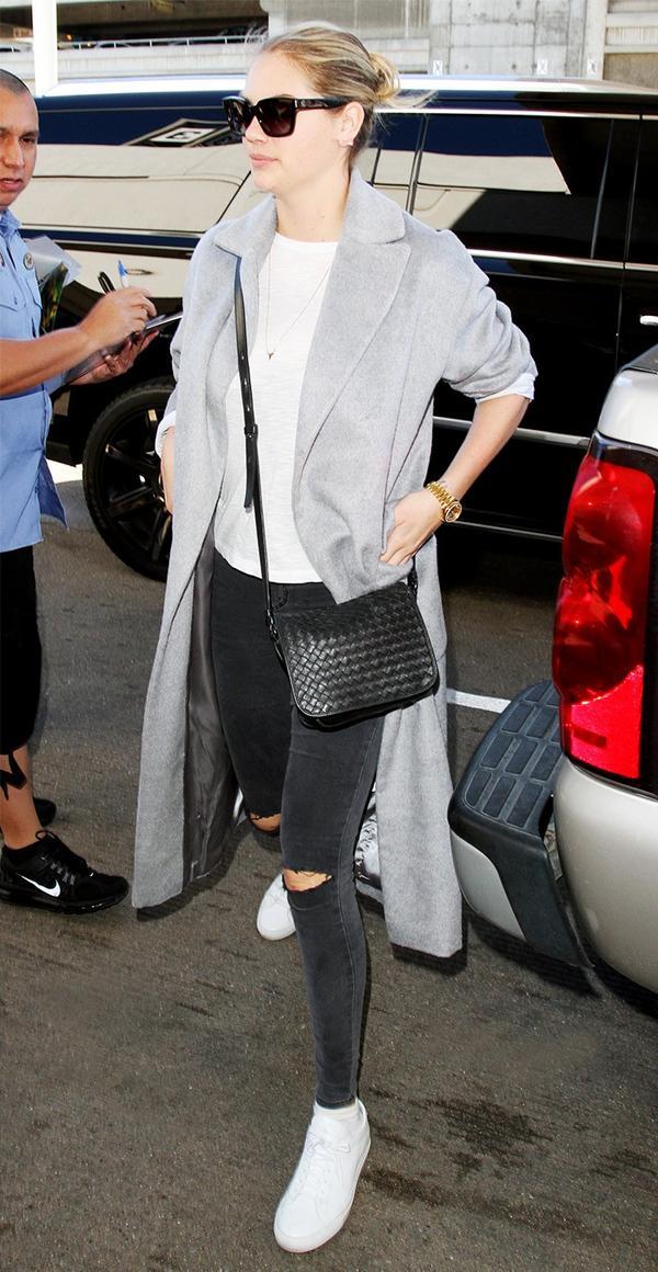 On Kate Upton:Bottega Veneta Montebello Intrecciato Leather Flap Crossbody Bag($2100).
