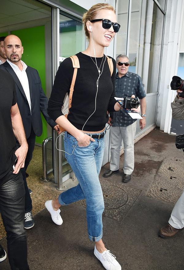 On Karlie Kloss: Jennifer Meyernecklace; Mansur Gavriel bag;Superga Cotu Classic Lace Up Sneakers ($65).