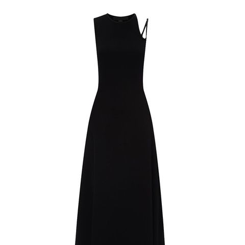 Black Crepe Asymmetric Strap Dress