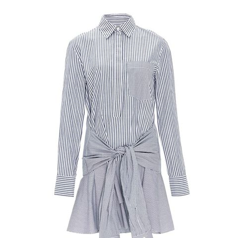 Cotton Striped Tie Waist Shirtdress