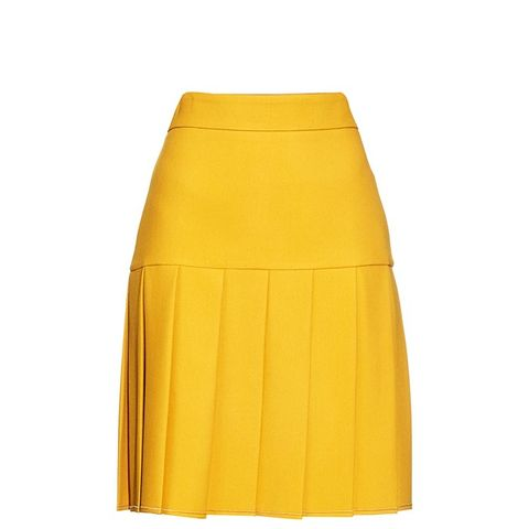 Pleated Silk and Wool-Blend Cady Skirt