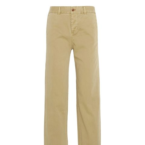 Cotton-Twill Straight-Leg Pants