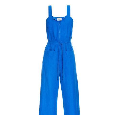 Bend Belted Linen Jumpsuit