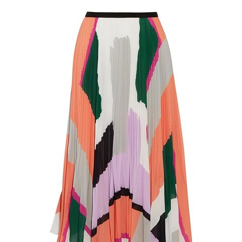 Pleated Printed Georgette Midi Skirt
