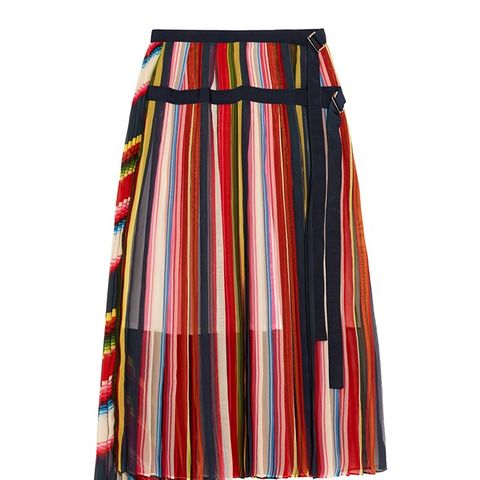 Grosgrain-Trimmed Pleated Striped Chiffon Skirt