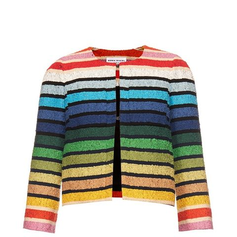 Rainbow-Stripe Tweed Jacket