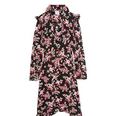 Ruffle-Trimmed Floral-Print Crepe Midi Dress