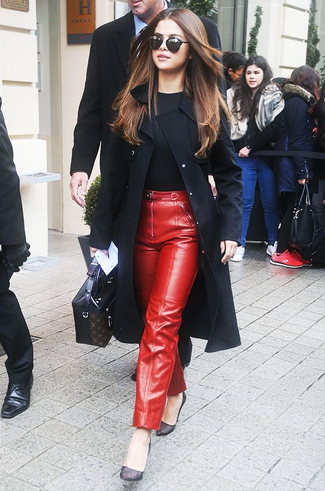 Selena Gomez showed off the strong colour combo earlier this month on the streets of Paris, wearing a Wolford bodysuit with her red leather Louis Vuitton pants.