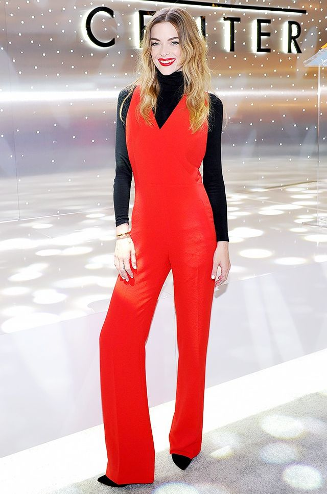 Jaime King attended An Icon Re-Imagined at the Beverly Center earlier this month looking fashion forward in a black Wolford sweater underneath her red Tory Burch Crêpe...
