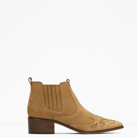 Block Heel Leather Cowboy Ankle Boots