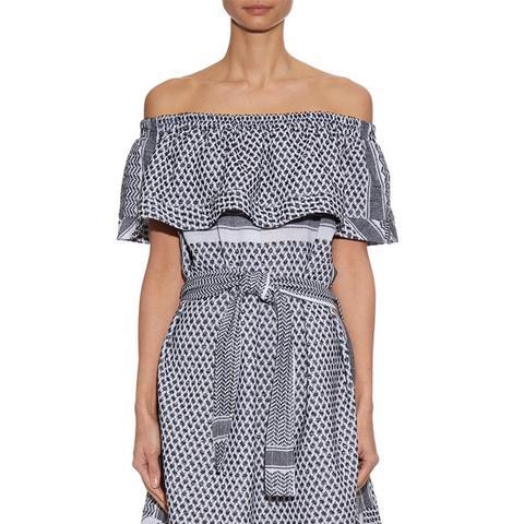Scarf Print Off-the-Shoulder Dress