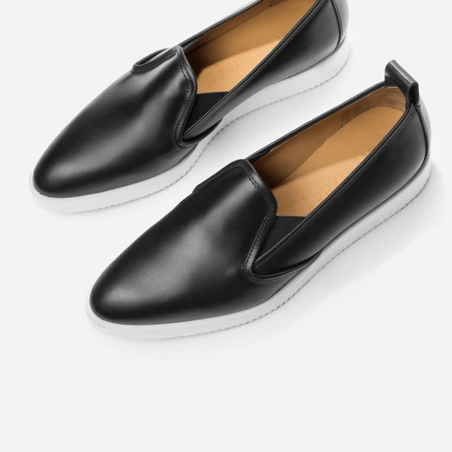 Women's Leather Slip-on Shoes by Everlane in Black, Size 6.5