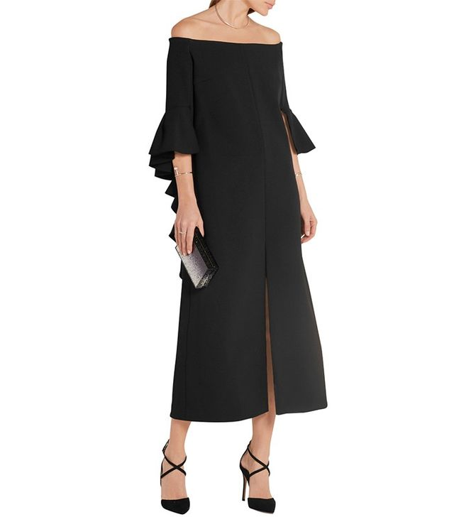Ellery Precocious Off-the-Shoulder Ruffled Crepe Midi Dress