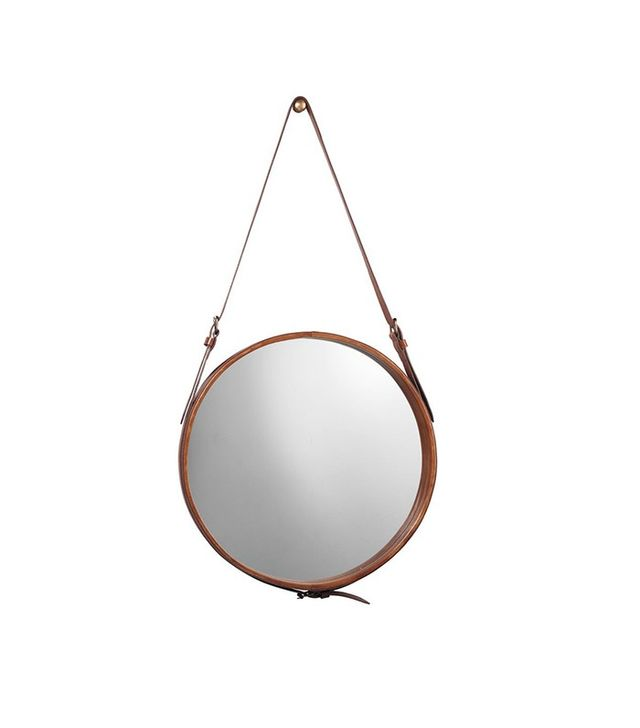 Jamie Young Large Leather Round Mirror