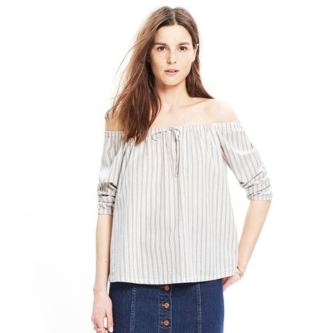 Striped-Off-The-Shoulder Top