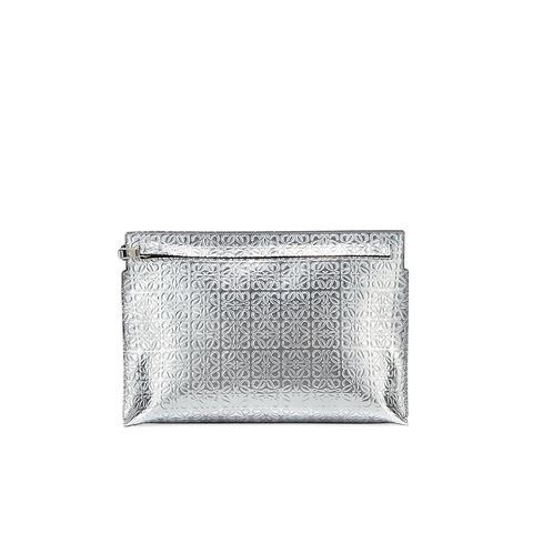 Metallic Embossed Leather Large Pouch Bag, Silver