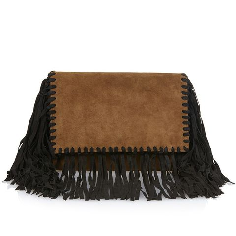 Swila Fringed Suede Clutch