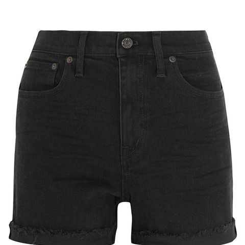 High Riser Stretch Denim Shorts