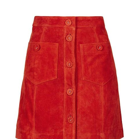 Suede Button Skirt