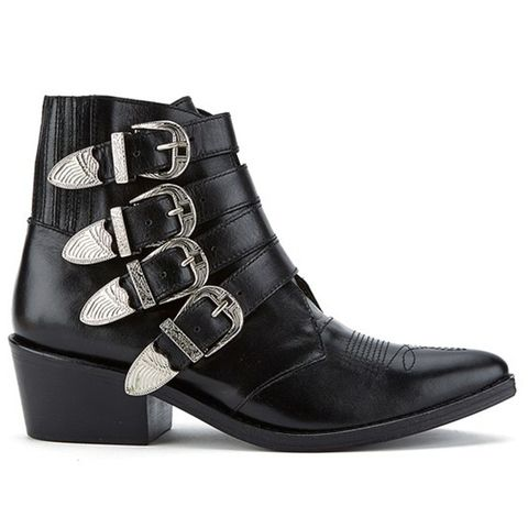 Buckle Side Leather Heeled Ankle Boots