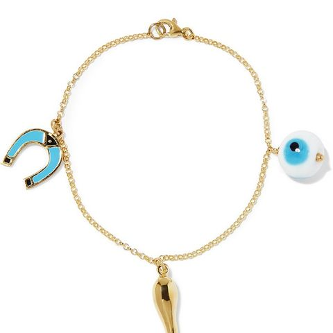 Lucky Eye Gold-Plated Enamel Charm Bracelet